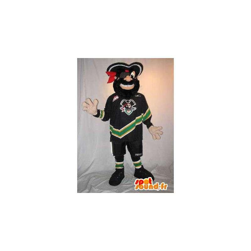 Pirate mascot dressed as a footballer, football pirate costume - MASFR001877 - Mascottes de Pirate