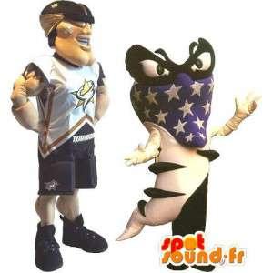 Football americano del costume della mascotte degli Stati Uniti lo sport