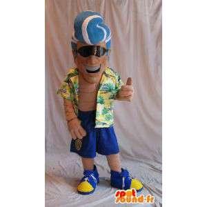 Mascotte de playboy en mode touriste, déguisement de beau gosse