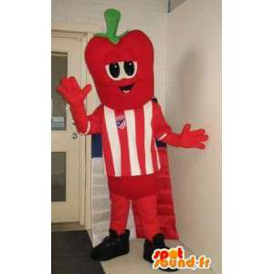 Character mascot head, strawberry costume footballer