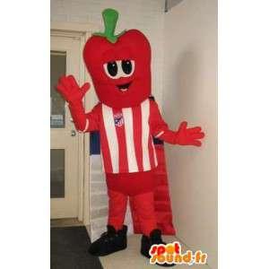 Mascotte personnage à tête de fraise, déguisement de footballeur