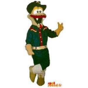Mascotte crocodile à moustaches, déguisement de scout