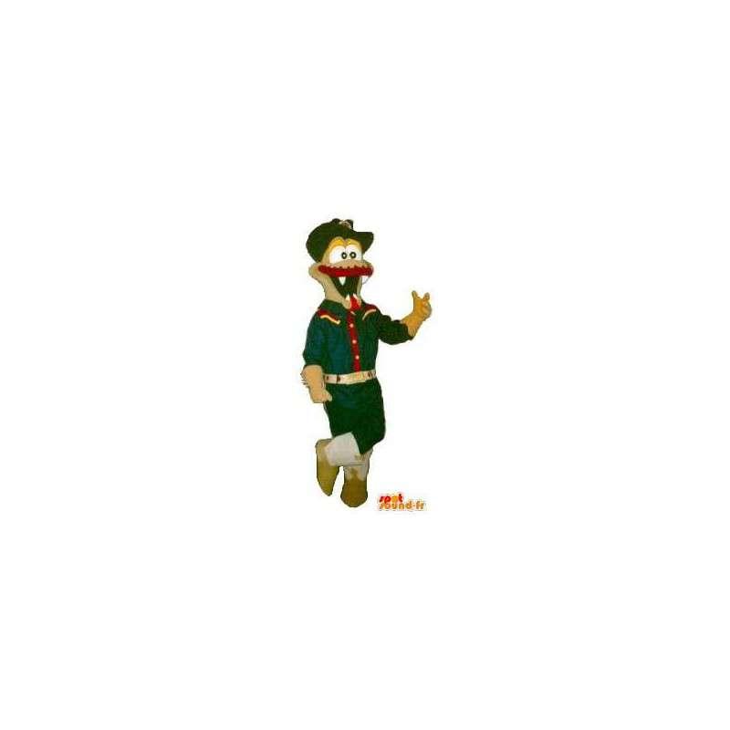 Mascotte crocodile à moustaches, déguisement de scout - MASFR001886 - Mascotte de crocodiles