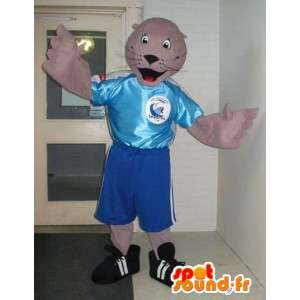 Mascotte de phoque en tenue de foot, déguisement footballeur