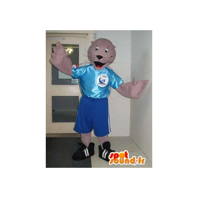 Mascotte de phoque en tenue de foot, déguisement footballeur - MASFR001887 - Mascottes Phoque
