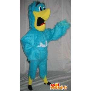 Mascotte perroquet bleu et jaune, déguisement d'oiseau