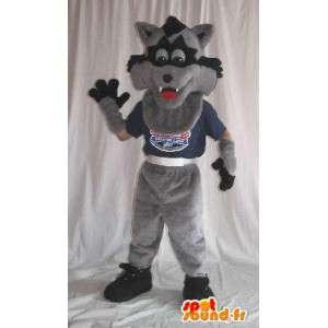 Mascotte loup gris et noir, déguisement pour les enfants