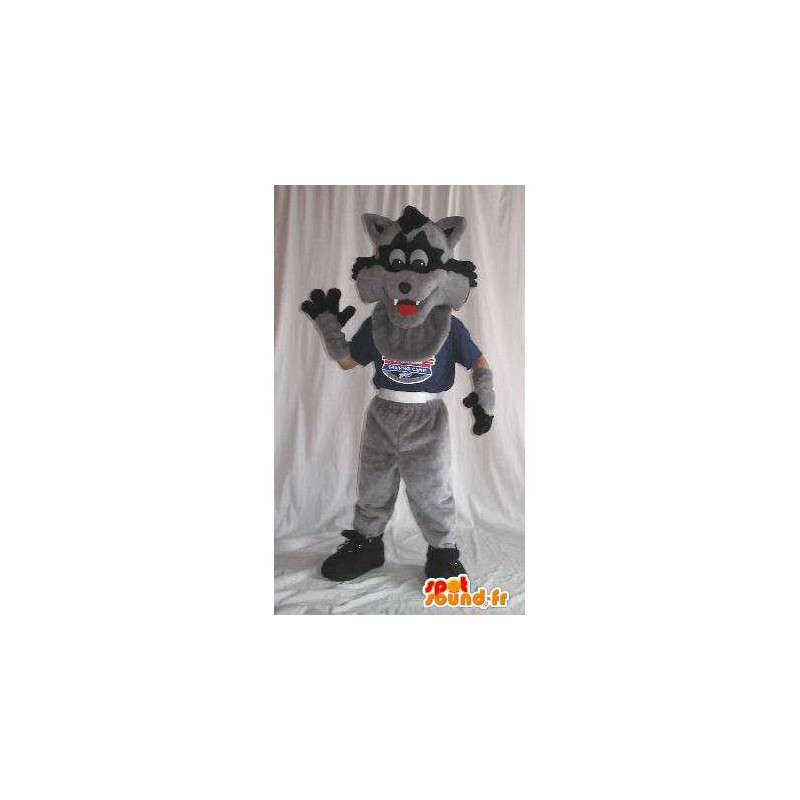 Black and gray wolf mascot costume for children - MASFR001892 - Mascots Wolf