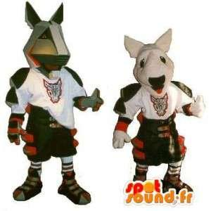 Mascottes de pitbull en armure, déguisement gladiateur moderne