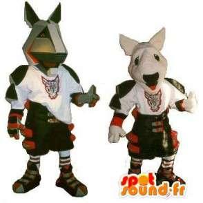 Mascottes de pitbull en armure, déguisement gladiateur moderne - MASFR001895 - Mascottes de chien