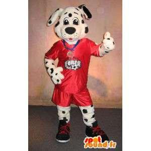 Mascotte dalmatien en tenue de football, déguisement footballeur