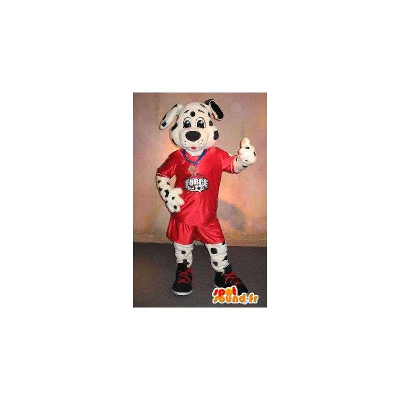 Dalmatian maskotti pukeutunut jalkapallo, jalkapallo naamioida - MASFR001897 - koira Maskotteja