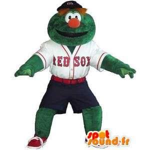 Mascot jugador de béisbol tipo verde, traje de béisbol