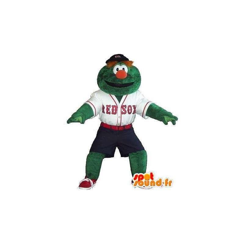 Mascotte bonhomme vert joueur de baseball, déguisement baseball - MASFR001900 - Mascottes Homme
