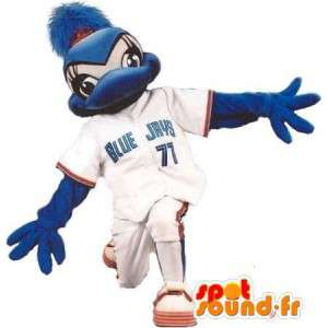 Duck mascot dressed in baseball, baseball costume