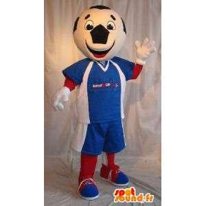 Ποδόσφαιρο μπάλα μασκότ χαρακτήρα, τρίχρωμη σημαία μεταμφίεση