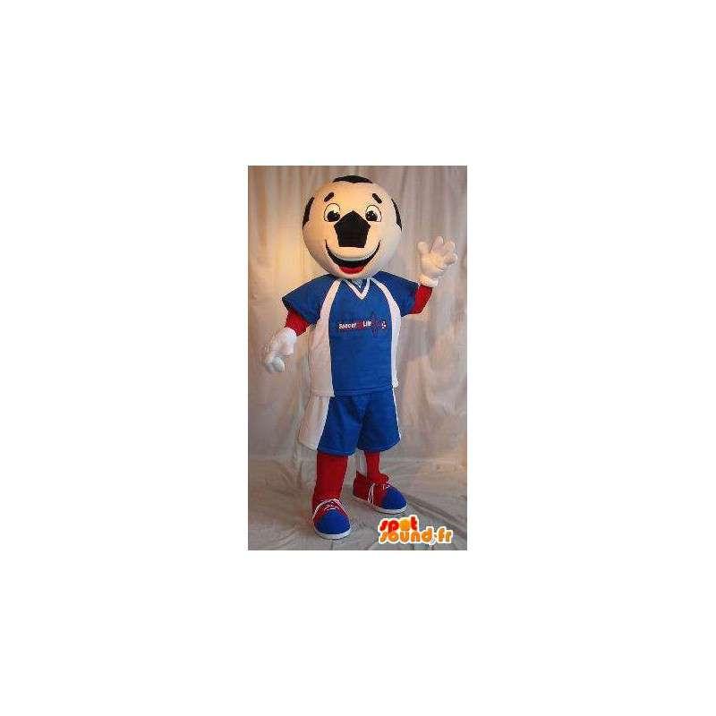 Voetbal bal mascotte karakter, tricolor vermomming - MASFR001910 - sporten mascotte