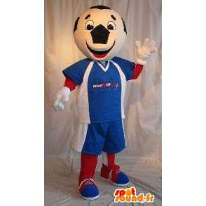 Football mascot character costume tricolor - MASFR001910 - Sports mascot