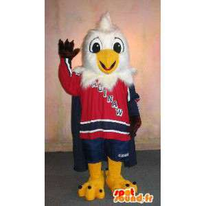 Eagle mascot in sports outfit, costume toy