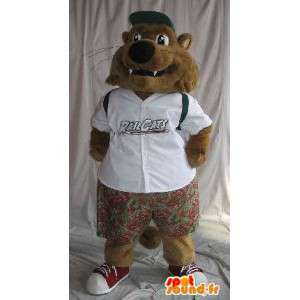 Mascotte de petit loup en tenue d'écolier, tenue pour enfants