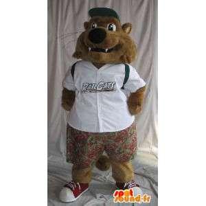 Poco mascota lobo vestido como un traje de colegial para los niños