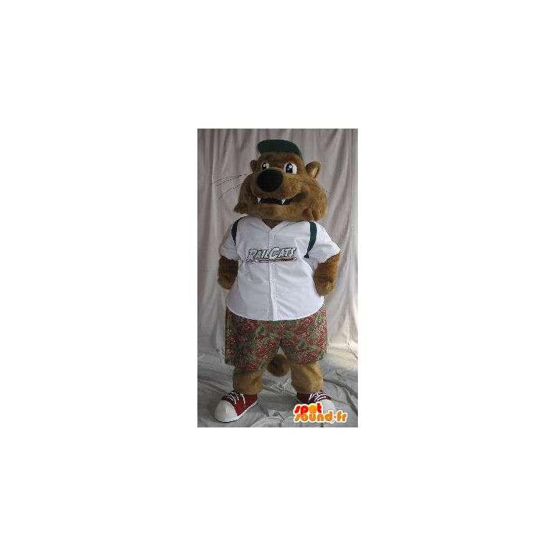 Mascotte de petit loup en tenue d'écolier, tenue pour enfants - MASFR001913 - Mascottes Loup