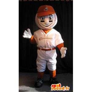 Mascot jogador de bola cabeça, disfarçado de beisebol - MASFR001914 - mascote esportes