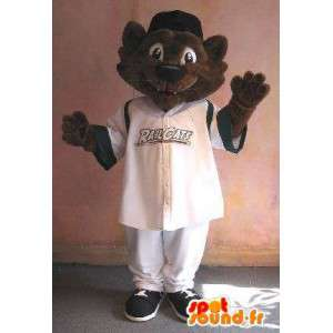 Mascot Cat en ropa deportiva, traje de gato deportes