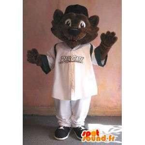 Mascotte de chat en tenue de sport, déguisement chat sportif