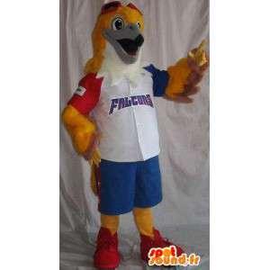 Mascotte représentant un faucon en tenue de baseball tricolore
