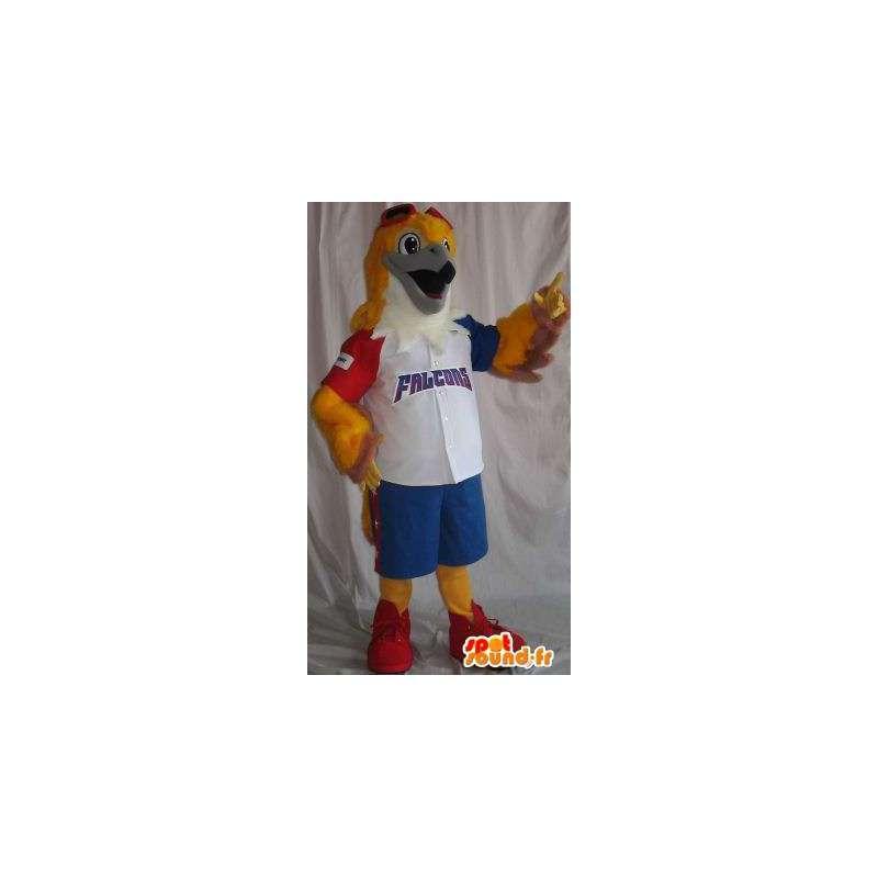 Mascotte représentant un faucon en tenue de baseball tricolore - MASFR001916 - Mascotte d'oiseaux