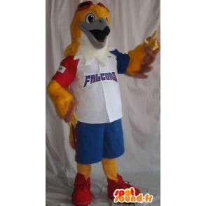 Mascot representerer en hauk kledd i tricolor baseball - MASFR001916 - Mascot fugler