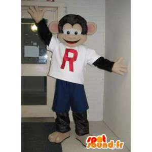 Mascotte de singe habillé en tenue sport, déguisement sport