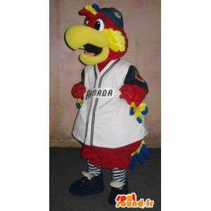 Baseball supporter papegoja maskot, supporter förklädnad -