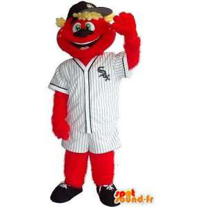 Mascot teddy holding red sox, baseball disguise