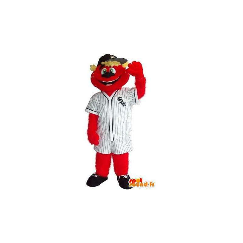 Mascot teddy holding red sox, baseball disguise - MASFR001926 - Bear mascot