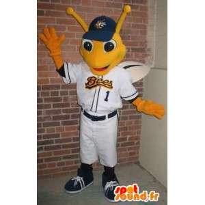 Mascotte de libellule joueur de baseball, déguisement insecte
