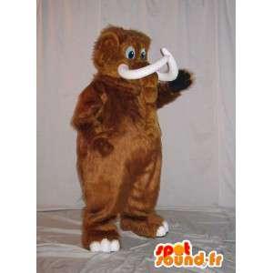 Mascotte de mammouth brun, déguisement animal préhistorique