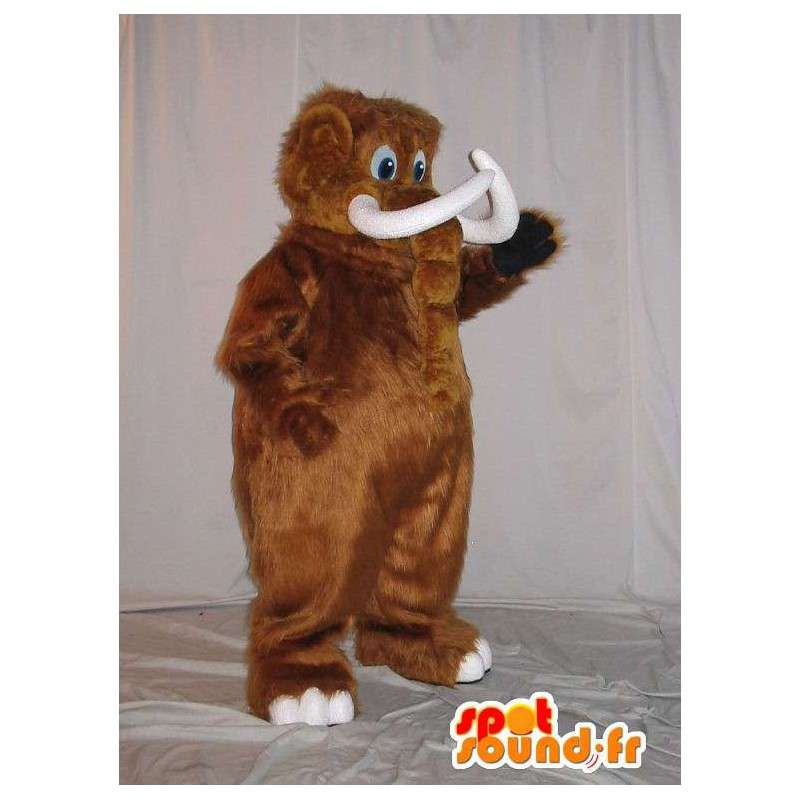 Mascotte de mammouth brun, déguisement animal préhistorique - MASFR001929 - Mascottes animaux disparus