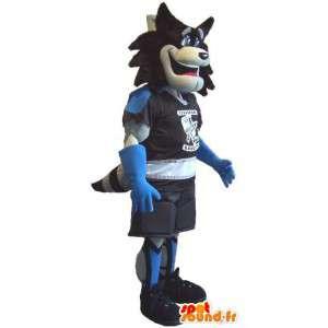 Mascote do lobo segurando Roller, disfarçado de patins - MASFR001931 - lobo Mascotes
