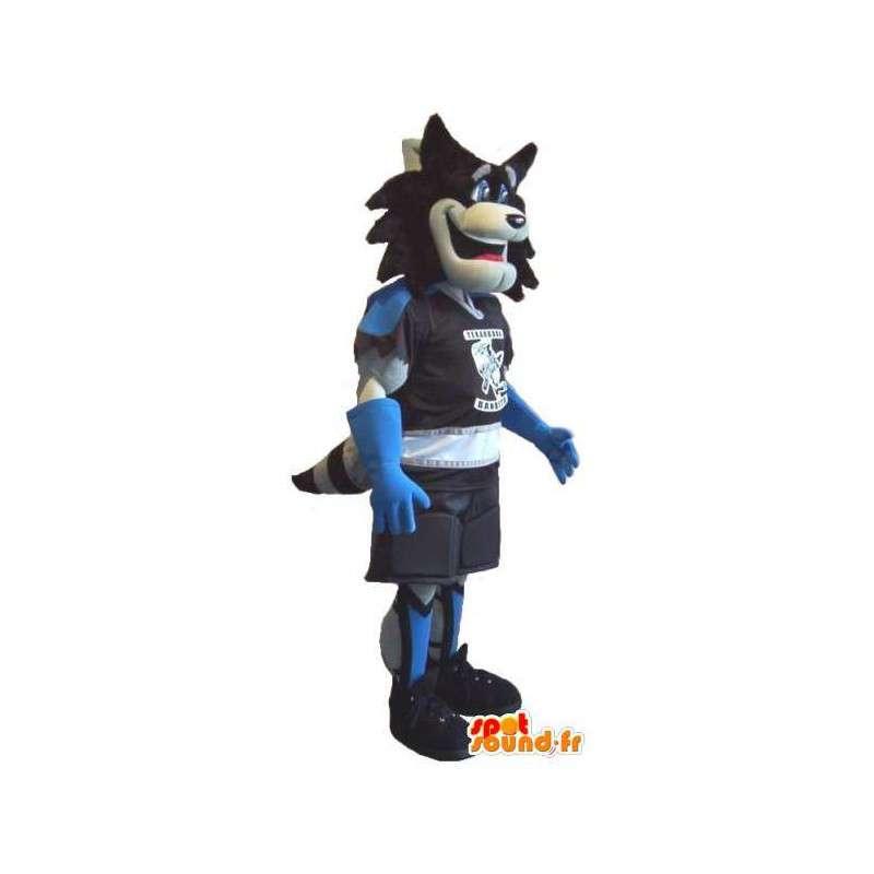 Mascotte de Loup en tenue de Roller, déguisement blade roller - MASFR001931 - Mascottes Loup