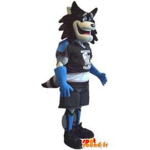 Wilk Mascot trzyma wałek, rolkach przebranie - MASFR001931 - wilk Maskotki