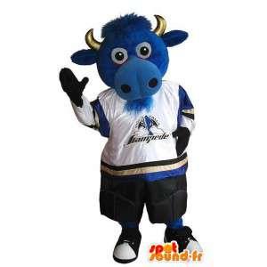 Lehmän maskotti jalkapalloilija, jalkapallo puku USA