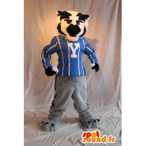 Mascotte de chien athlétique, déguisement de sportif