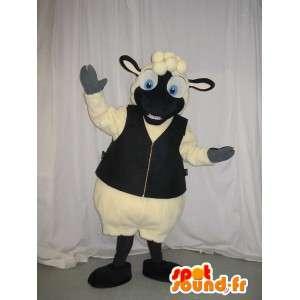 Mascotte de mouton en gilet, déguisement de mouton