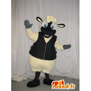 Maskottchen-Kostüm Schaf Schaffell-Weste