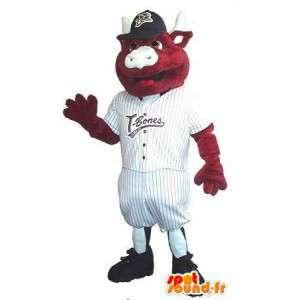 Kalfsvlees mascotte honkbalspeler, honkbalspeler kostuum