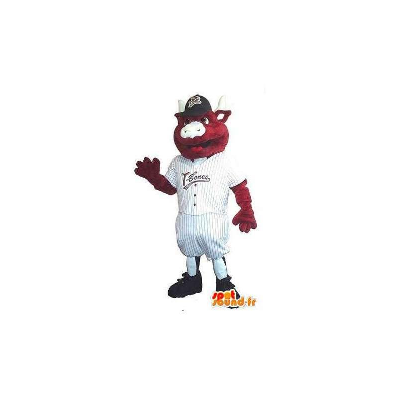 Calf mascot baseball player, baseball player costume - MASFR001940 - Sports mascot