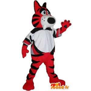 オレンジと黒の虎のマスコット、ジャングルを偽装-masfr001942-虎のマスコット