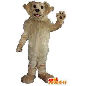 Pies maskotka z włosów, beżowy kostium psa